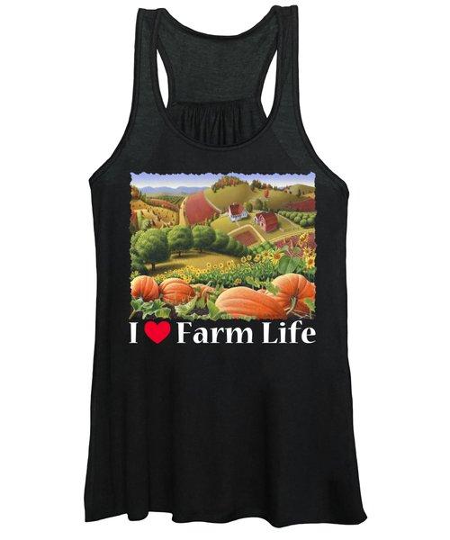 I Love Farm Life T Shirt - Appalachian Pumpkin Patch - Rural Farm Landscape 2 Women's Tank Top