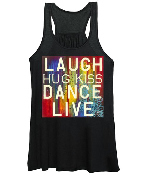 Women's Tank Top featuring the painting Laugh Hug Kiss Dance Live by Carla Bank