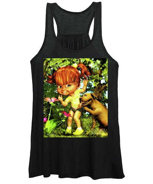 Little Redhead And Her Dog Women's Tank Top