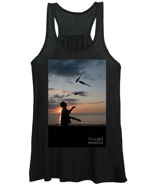 Man Juggling With Four Clubs At Sunset Women's Tank Top