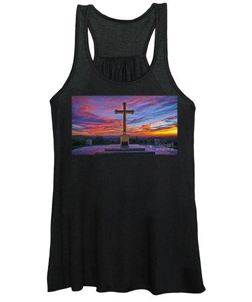 Christian Cross And Amazing Sunset Women's Tank Top