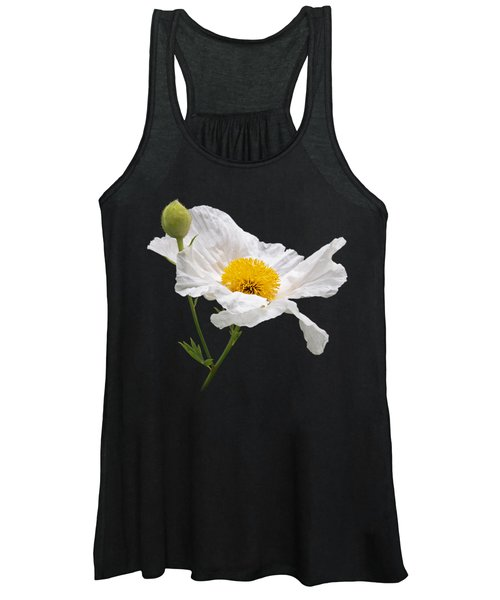 Matilija Poppy On Black Women's Tank Top