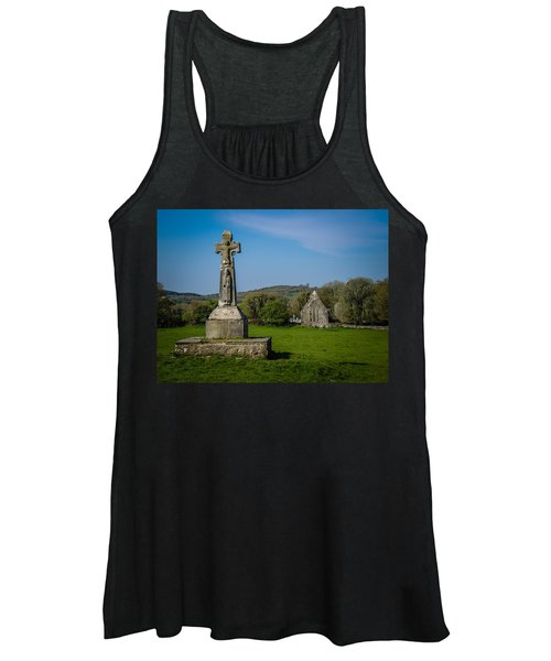 Women's Tank Top featuring the photograph Medieval High Cross In Irish Pasture by James Truett