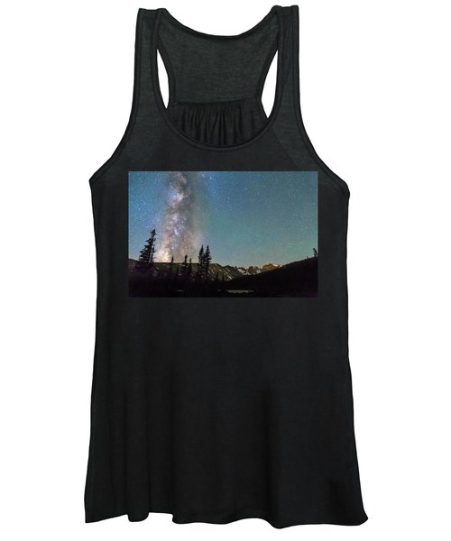 Middle Of The Night Milky Way Above The Rocky Mountains Women's Tank Top