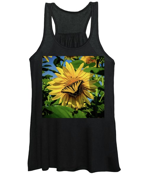 Male Eastern Tiger Swallowtail - Papilio Glaucus And Sunflower Women's Tank Top