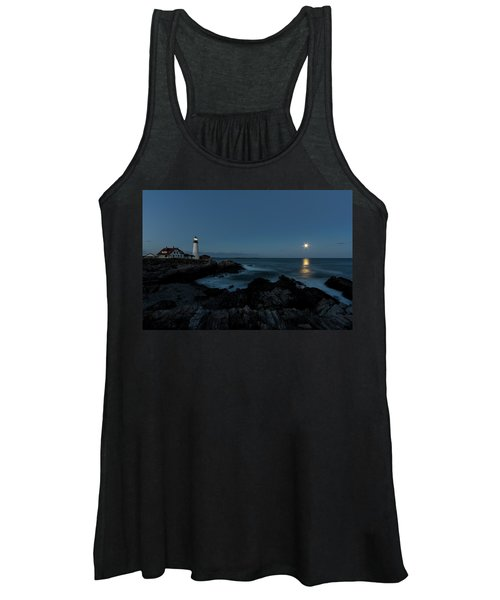 Moon Rise At Portland Headlight Women's Tank Top