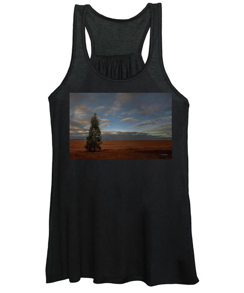 Moonset  In A Large Morning Sky Women's Tank Top