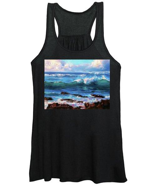 Coastal Ocean Sunset At Turtle Bay, Oahu Hawaii Beach Seascape Women's Tank Top