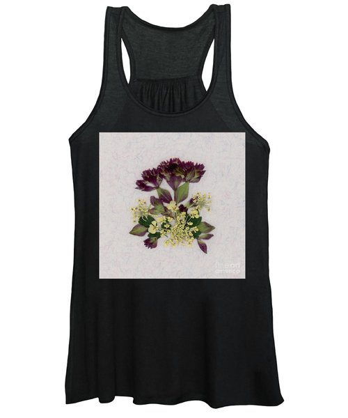 Oregano Florets And Leaves Pressed Flower Design Women's Tank Top