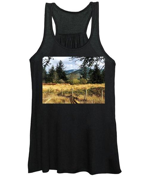 Pasture, Trees, Mountains Sky Women's Tank Top