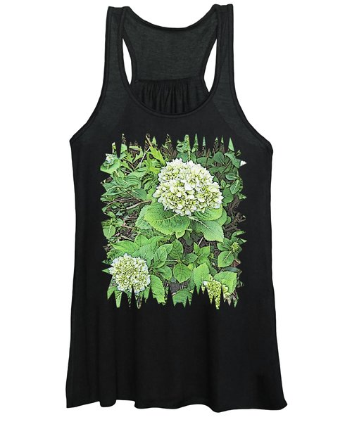 Pencil Sketch Hydrangea With Jagged Edges Women's Tank Top