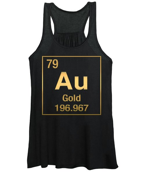 Periodic Table Of Elements - Gold - Au - Gold On Black Women's Tank Top