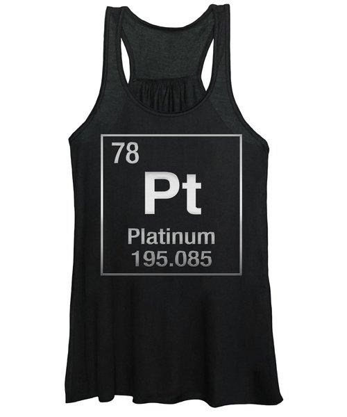 Periodic Table Of Elements - Platinum - Pt - Platinum On Black Women's Tank Top