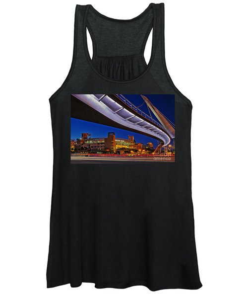 Petco Park And The Harbor Drive Pedestrian Bridge In Downtown San Diego  Women's Tank Top
