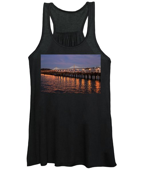 Pier 7 And Bay Bridge Lights At Sunset Women's Tank Top