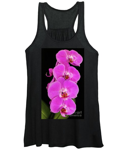 Pink Orchid Against A Black Background Women's Tank Top