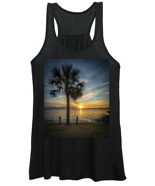 Pitt Street Bridge Palmetto Tree Sunset Women's Tank Top