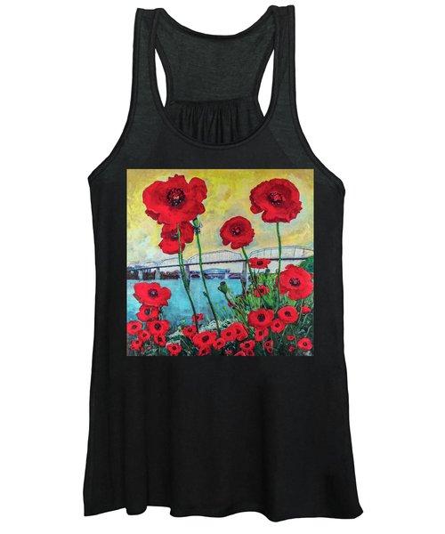 Poppies Along The Riverfront Women's Tank Top