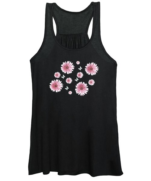 Pretty Pink Flowers On Black Women's Tank Top