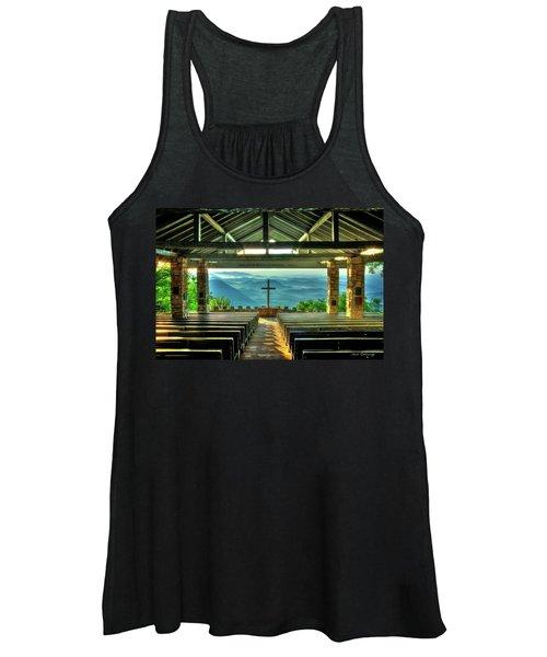 Pretty Place Chapel The Son Has Risen Blue Ridge Mountain Art Women's Tank Top