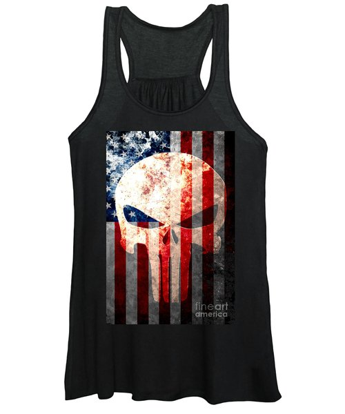 Punisher Themed Skull And American Flag On Distressed Metal Sheet Women's Tank Top