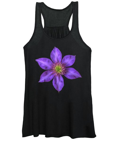 Purple Clematis Flower With Soft Look Effect Women's Tank Top