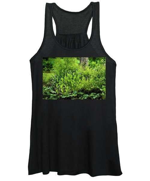 Purple Flowers By The Ponds Edge Women's Tank Top