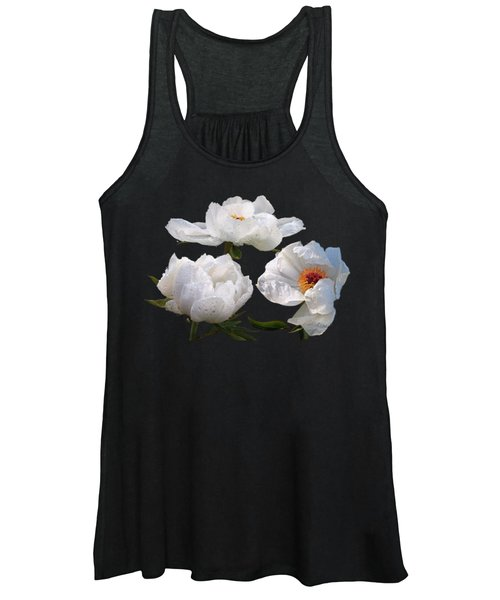 Raindrops On White Tree Peonies Women's Tank Top