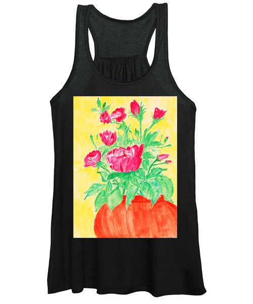 Red Flowers In A Brown Vase Women's Tank Top