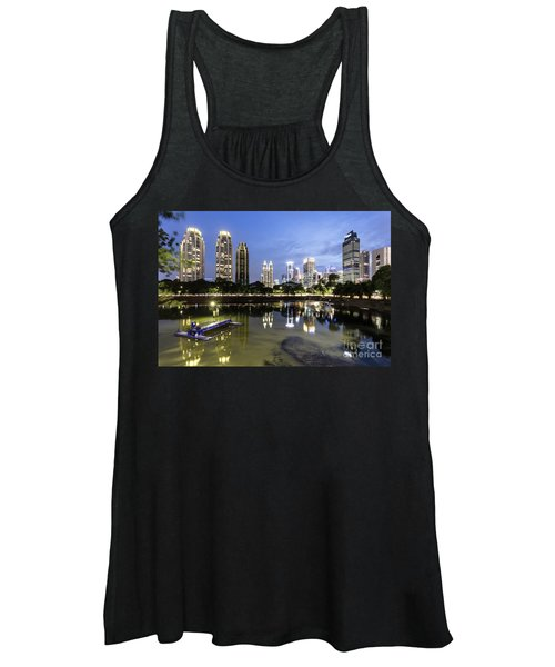 Reflection Of Jakarta Business District Skyline During Blue Hour Women's Tank Top
