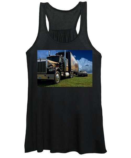 Smokey And The Bandit Tribute 1973 Kenworth W900 Black And Gold Semi Truck And The Bandit Transam Women's Tank Top