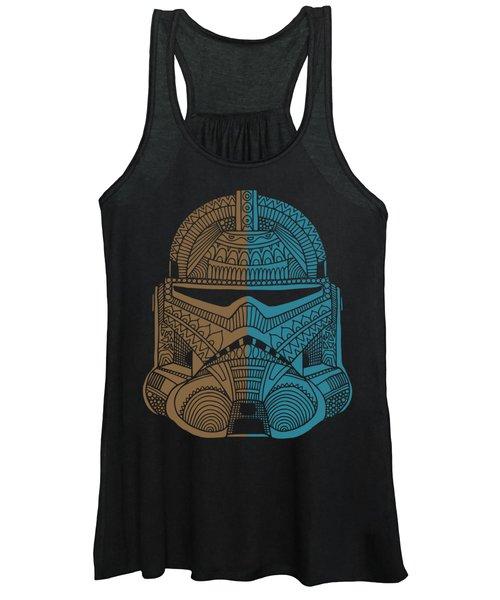 Stormtrooper Helmet - Star Wars Art - Brown Blue Women's Tank Top