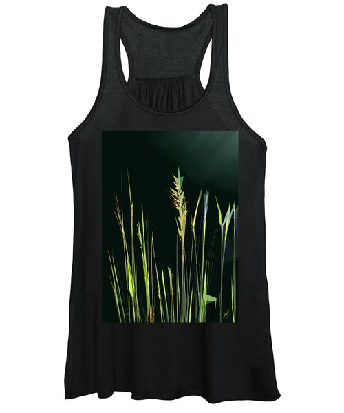 Women's Tank Top featuring the digital art Sunlit Grasses by Gina Harrison