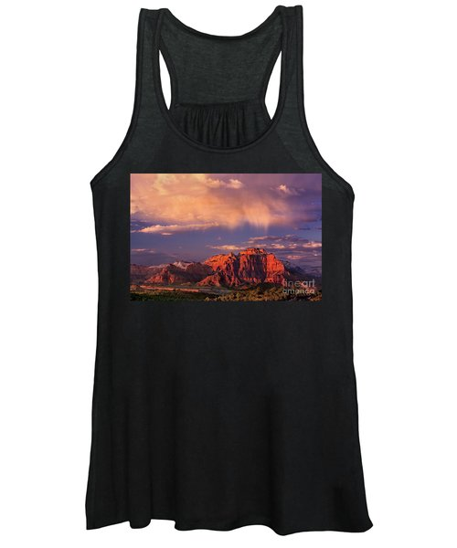 Sunset On West Temple Zion National Park Women's Tank Top