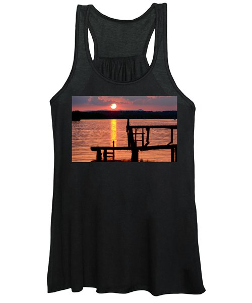 Surreal Smith Mountain Lake Dockside Sunset 2 Women's Tank Top
