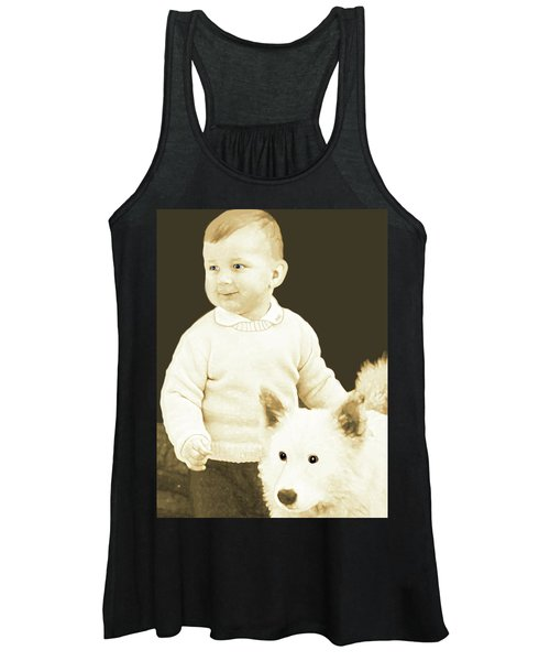 Sweet Vintage Toddler With His White Mutt Women's Tank Top