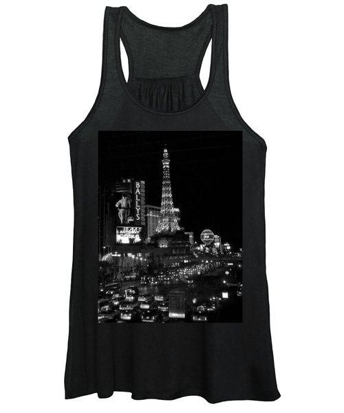 The Strip By Night B-w Women's Tank Top
