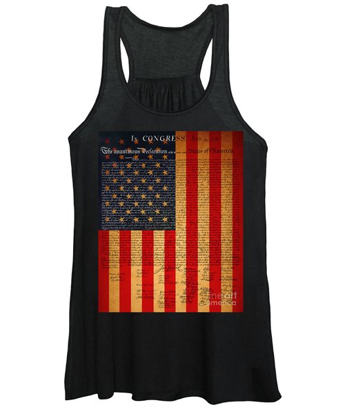 The United States Declaration Of Independence And The American Flag 20130215 Women's Tank Top