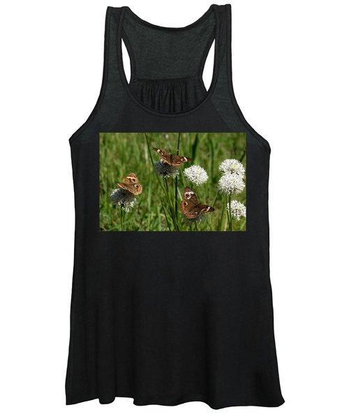 Three Buckeye Butterflies On Wildflowers Women's Tank Top