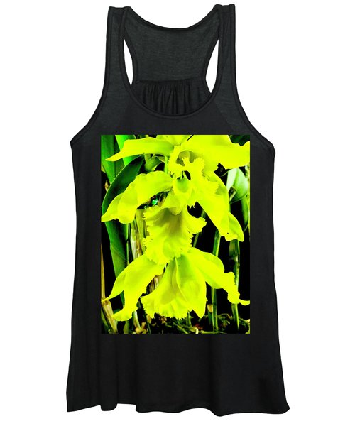 Three Orchids In Yellow Women's Tank Top