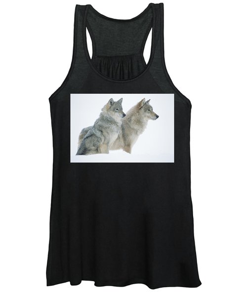 Timber Wolf Portrait Of Pair Sitting Women's Tank Top