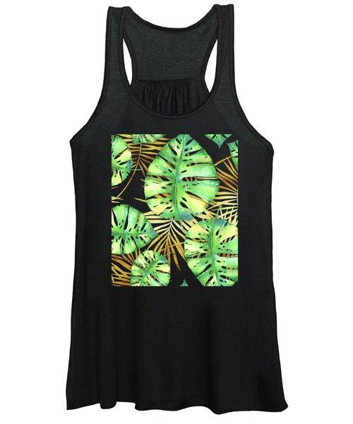 Tropical Haze Noir Variegated Monstera Leaves, Golden Palm Fronds On Black Women's Tank Top