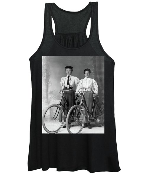 Two Young Ladies With Their Bicycles Circa 1895 Women's Tank Top