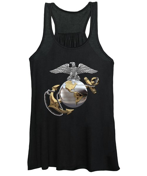 U S M C Eagle Globe And Anchor - C O And Warrant Officer E G A Over Black Velvet Women's Tank Top
