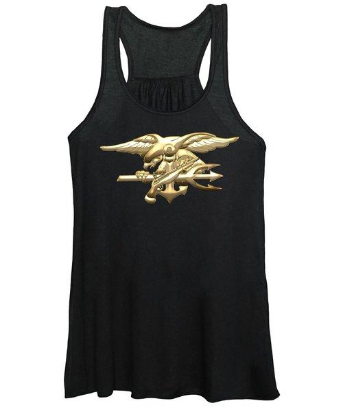 U. S. Navy S E A Ls Emblem On Black Velvet Women's Tank Top