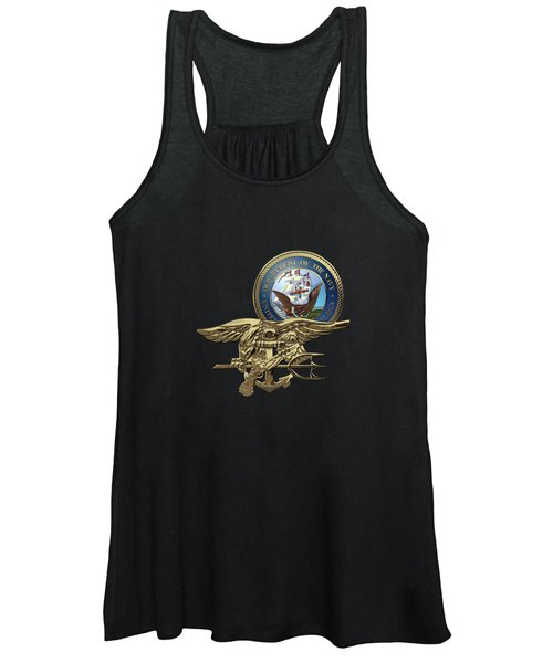 U. S. Navy S E A Ls Trident Over Blue Velvet Women's Tank Top