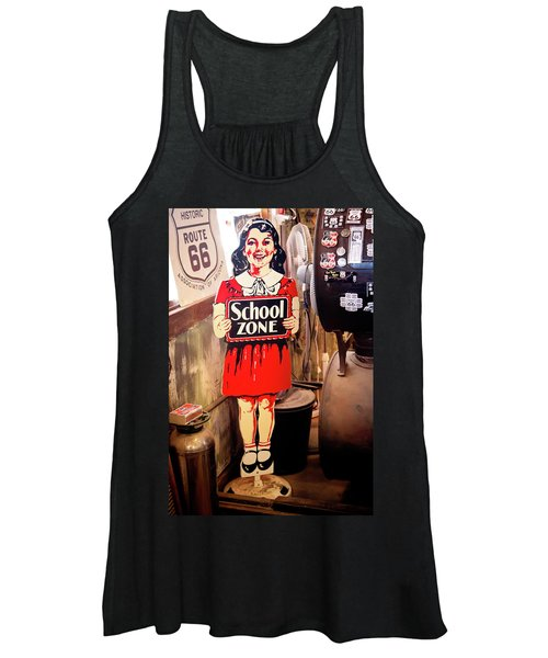 Vintage School Zone Sign Women's Tank Top