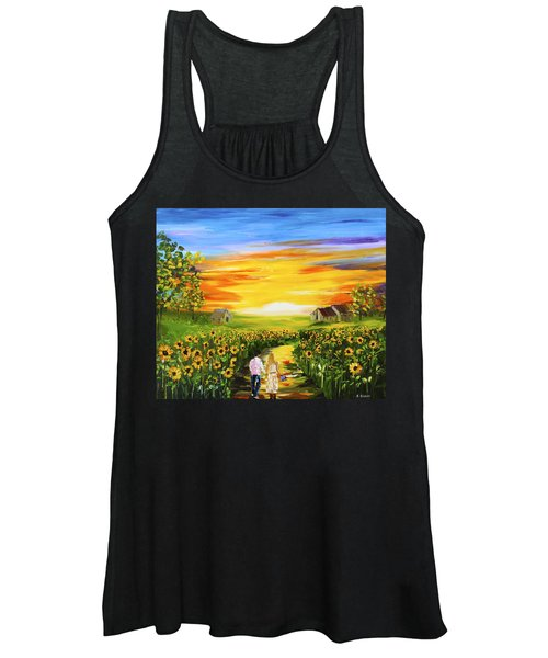 Walking Through The Sunflowers Women's Tank Top