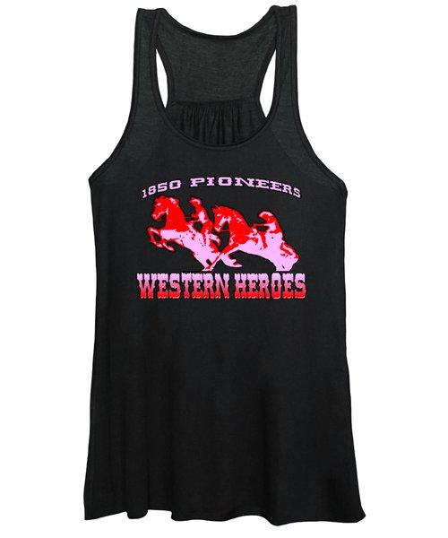 Western Heroes 1850 Pioneers - Tshirt Design Women's Tank Top