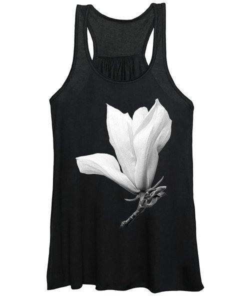 White Magnolia On Black Women's Tank Top